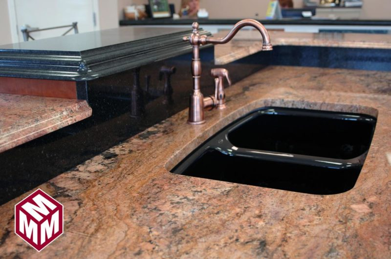 Red Granite (Bordeaux) on a kitchen counter