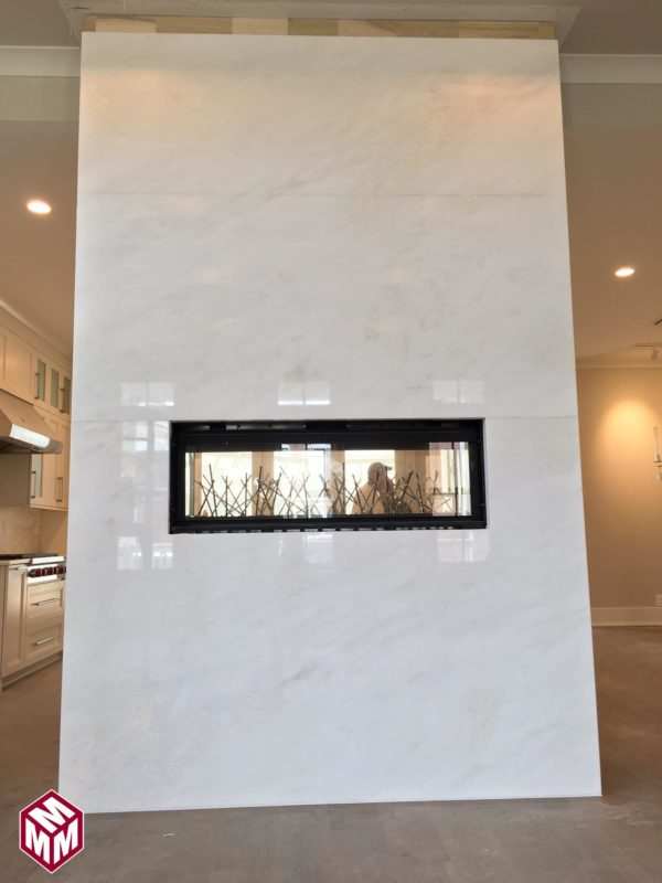 MYSTERY WHITE MARBLE FIREPLACE