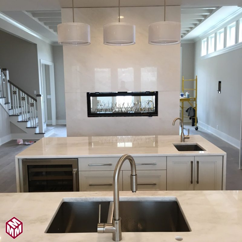 MYSTERY WHITE MARBLE ISLANDS & FIREPLACE